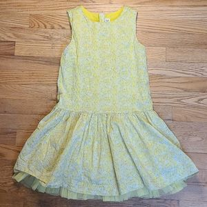 GAP Kids drop-waist yellow floral tulle trim dress